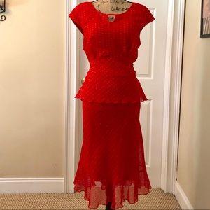 Red polka dot 2 piece dress